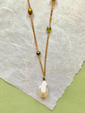 Bella - Green Garnet and Pearls