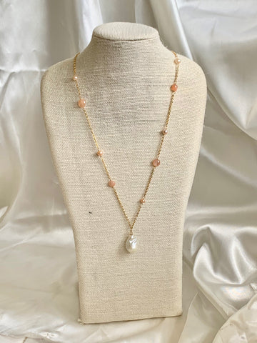 Bella - Peach Moonstone and Peach Pearls