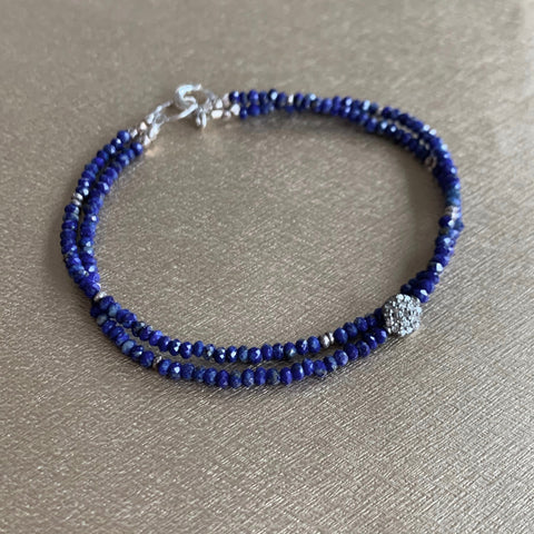 Mix & Match Stacking Bracelet 4 - Diamond & Lapis Lazuli