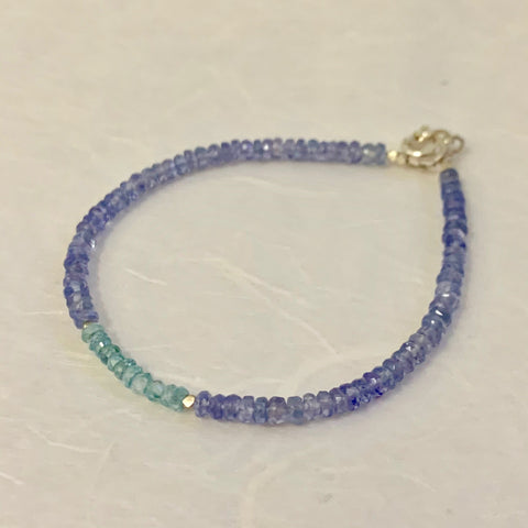 Mix & Match Stacking Bracelet: Tanzanite & Blue Zircon