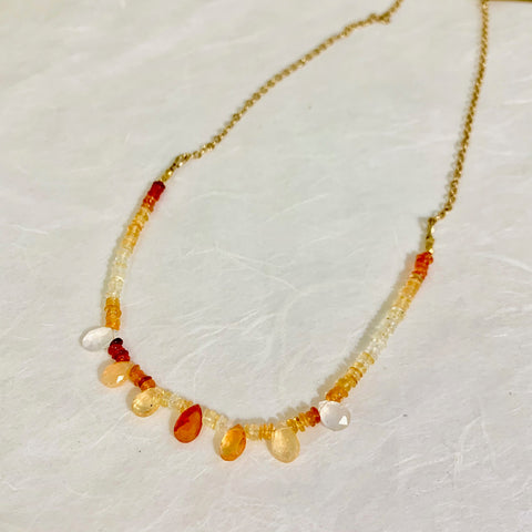 Collar Necklace - Inner Flame (Fire opal)