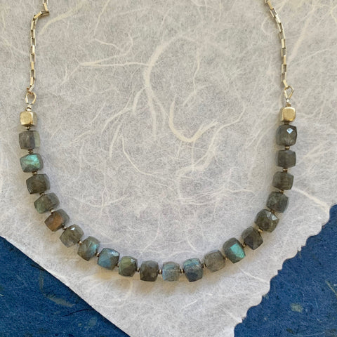 Collar Necklace - The New Cool Is Square (labradorite)