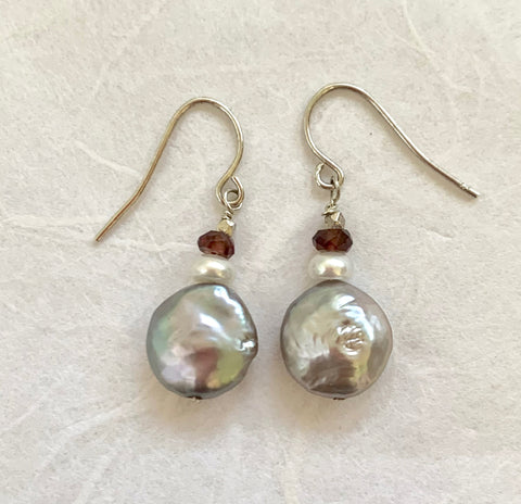 Luna Earrings - Silver (pearl & garnet)