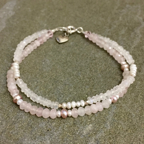 Sadie Bracelet - At First Blush (pearls & rose quartz)