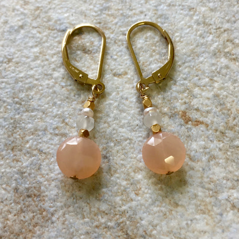 Light Hearted Earrings (peach moonstone)