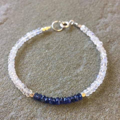 Mix & Match Stacking Bracelet 2: Moonstone & Kyanite