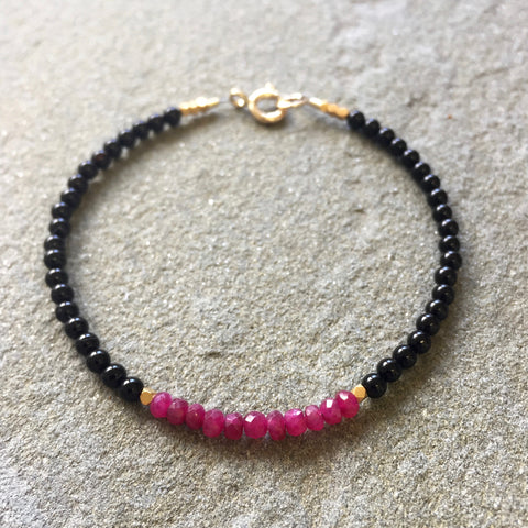 Mix & Match Stacking Bracelet 3: Onyx & Ruby