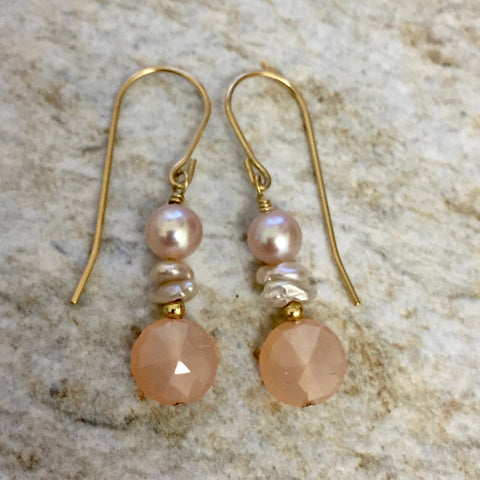 Light Hearted II Earrings (peach moonstone & pearls)