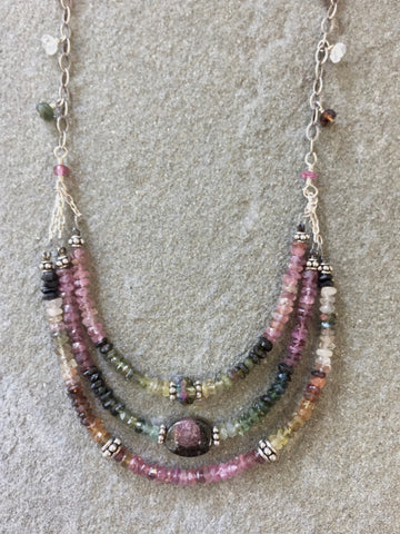 Collar Necklace - Seeing Triple (watermelon tourmaline)