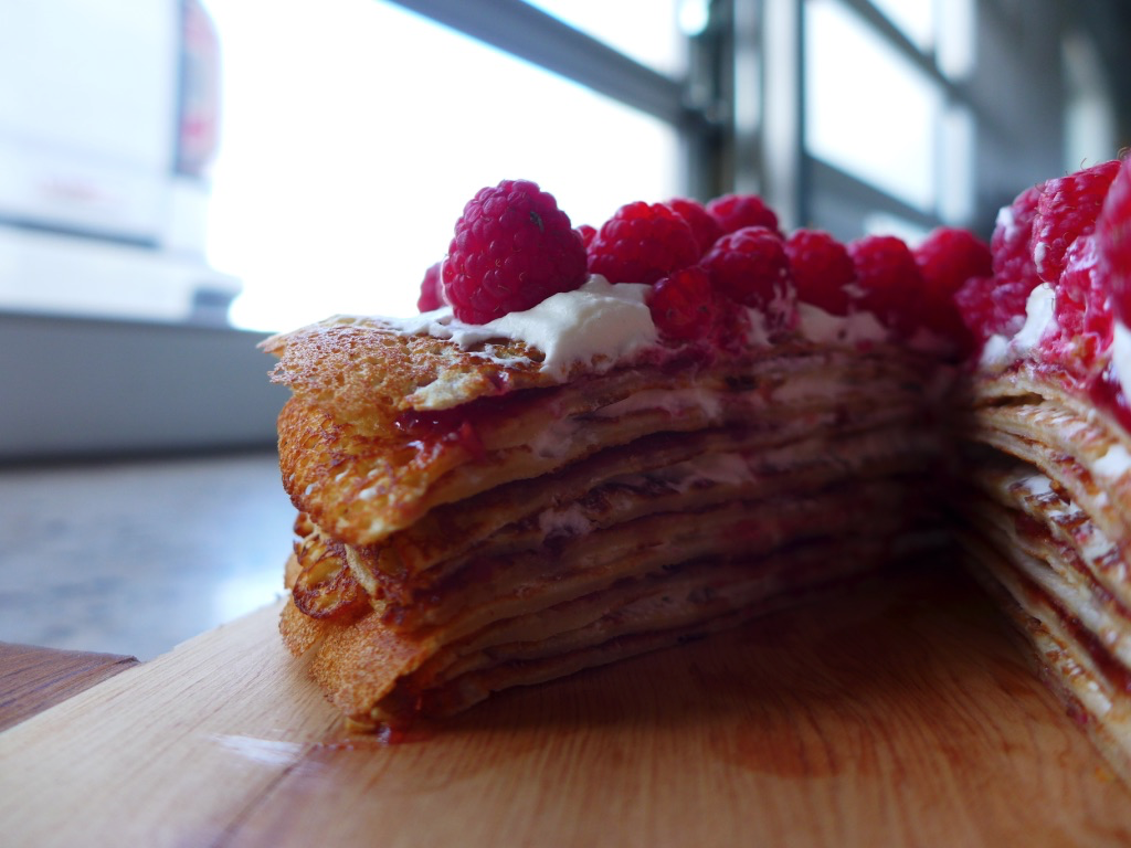 Heidi's Heavenly Raspberry Crêpe Cake