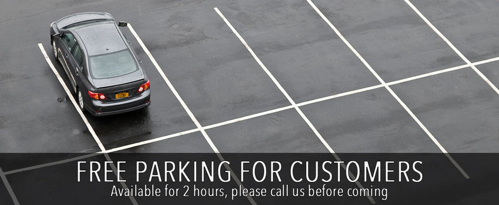 free parking for customers available for 2 hours, please call us before coming (888) 423-3820