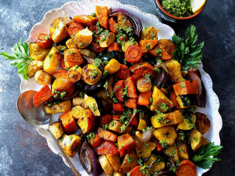 Roasted Root Vegetables with Pesto