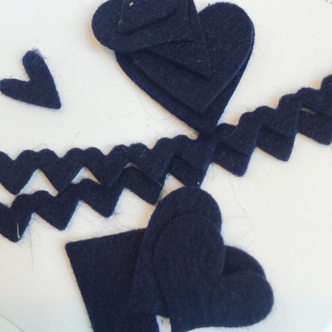 Night of Navy Heart Felties