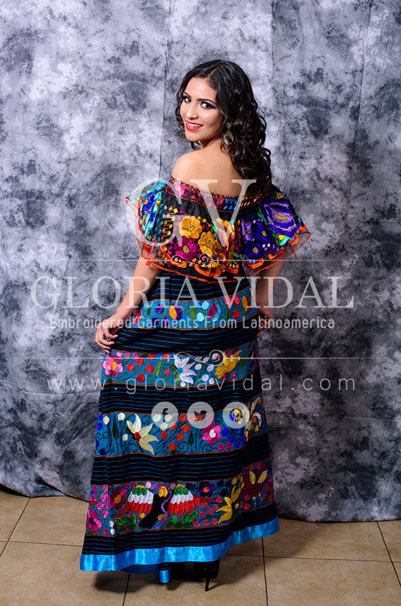 f3413f0180c Mexican Off Shoulder Peasant Top Blouse  Tunic Embroidered Black Multi  Flowers ...
