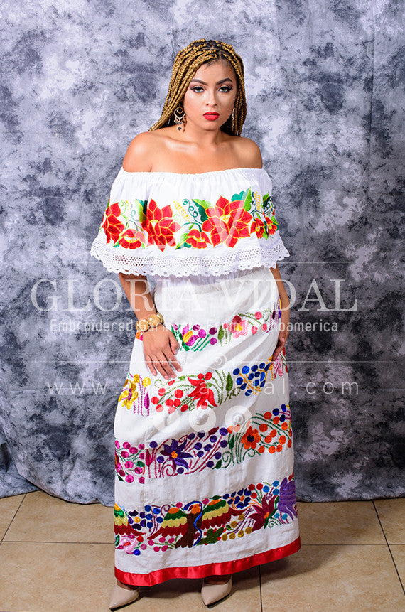 ba44f5ac064 ... Gorgeous White Mexican Off Shoulder Peasant Blouse Top Embroidered ...