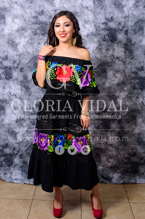 cd05978a94e6c ... Multicolor Embroidered Off Shoulders Mexican Dress Black Lace Crochet  ...