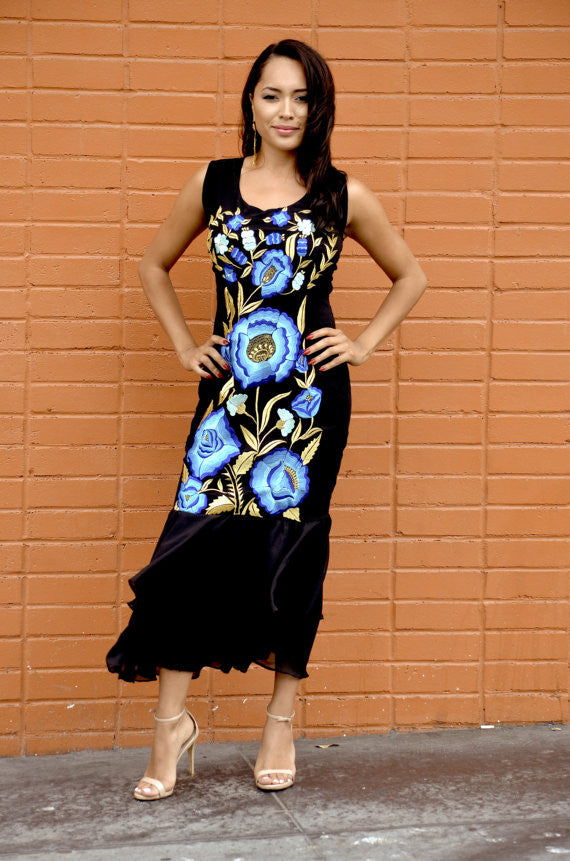 ... Mexican Embroidered Blue and Gold Flowers Dress ...