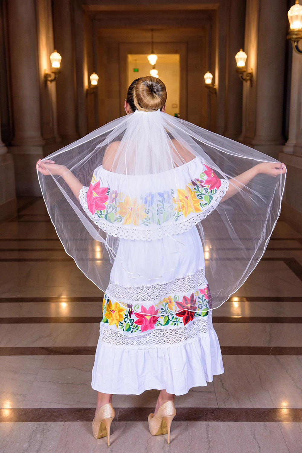 Multicolor Embroidered Off Shoulders Mexican Dress White - Gloria Vidal