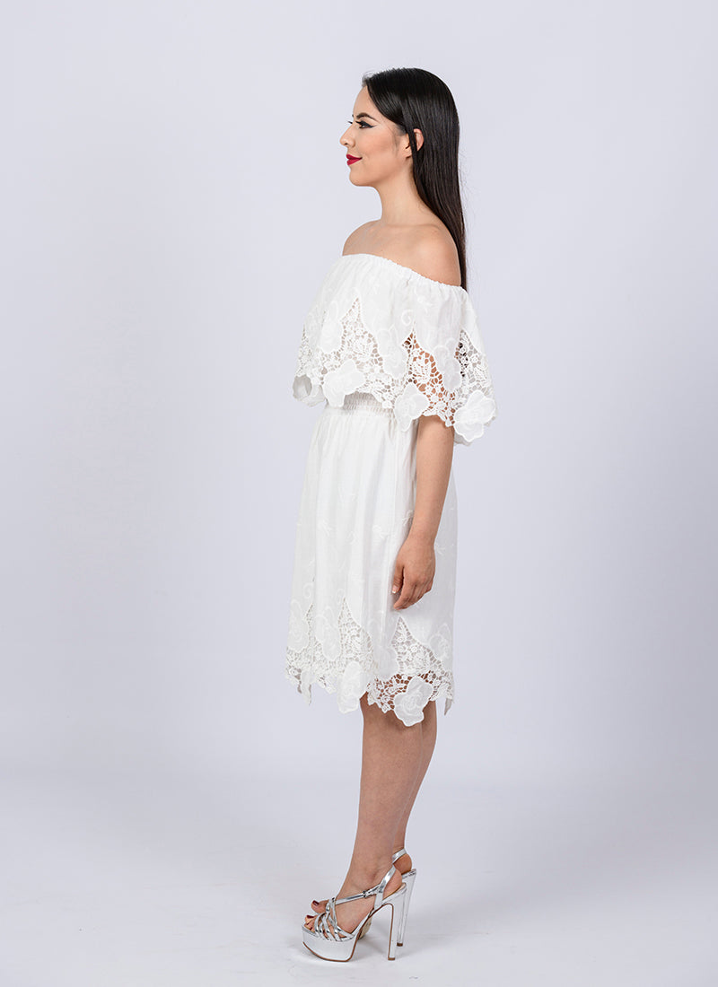 b093a4a8e76 White Mexican Off Shoulder Dress Dress Tunic Eyelet Trim