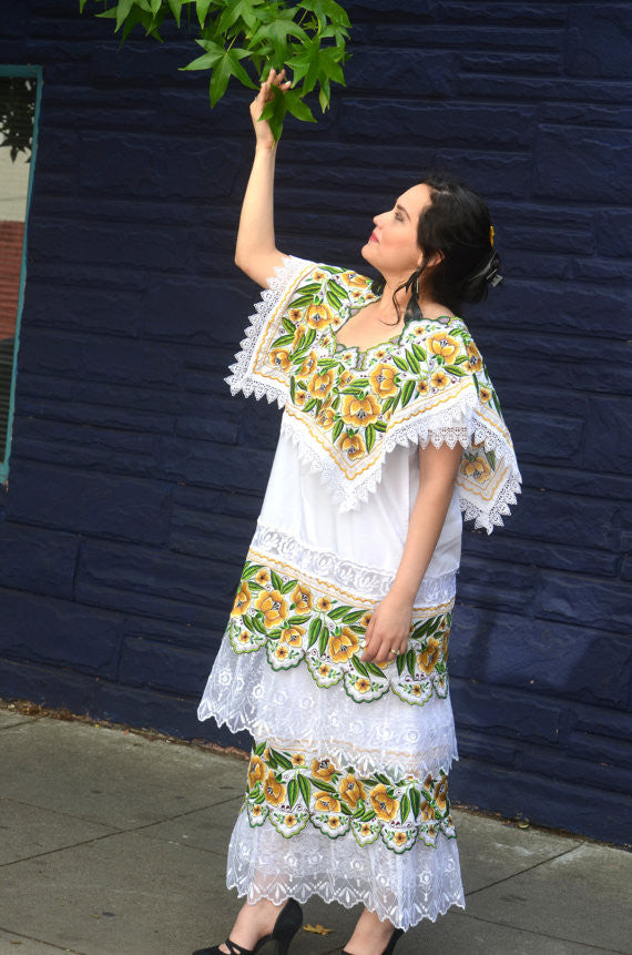 Beautiful One Of A Kind Spectacular Embroidered Huipil Dress From