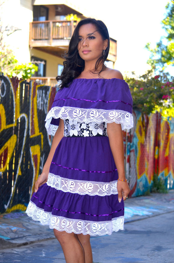 d4dd67f7252 Purple Mexican Off Shoulder Mini Dress Crochet Lace Trim - Gloria Vidal