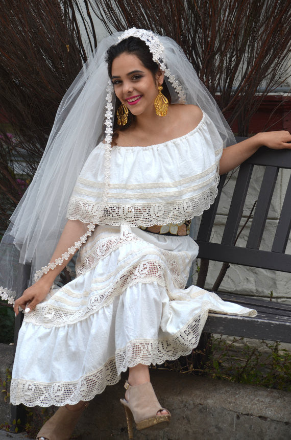 Mexican Wedding Dress.Mexican Wedding Dress Maxi Boho Hippie Draped Sheer Off Shoulder Cream Off White