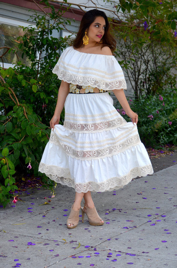7cb74aa6116 ... Mexican Wedding Dress maxi Boho hippie draped sheer Off shoulder cream  off white ...