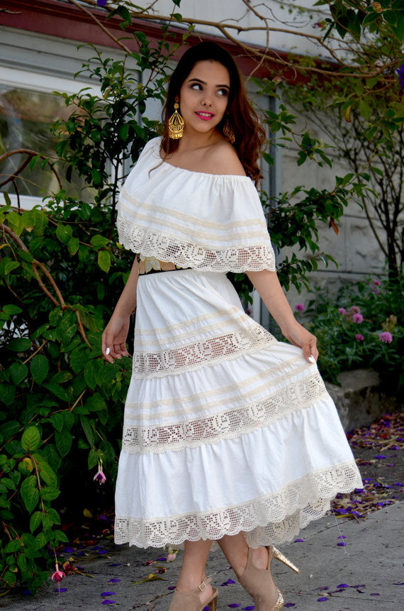529abe22105 Mexican Wedding Dress maxi Boho hippie draped sheer Off shoulder cream off  white ...