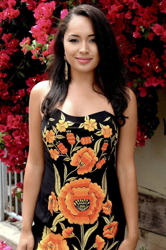 ab65484258c Mexican Embroidered Orange and Gold Flowers Dress - Gloria Vidal