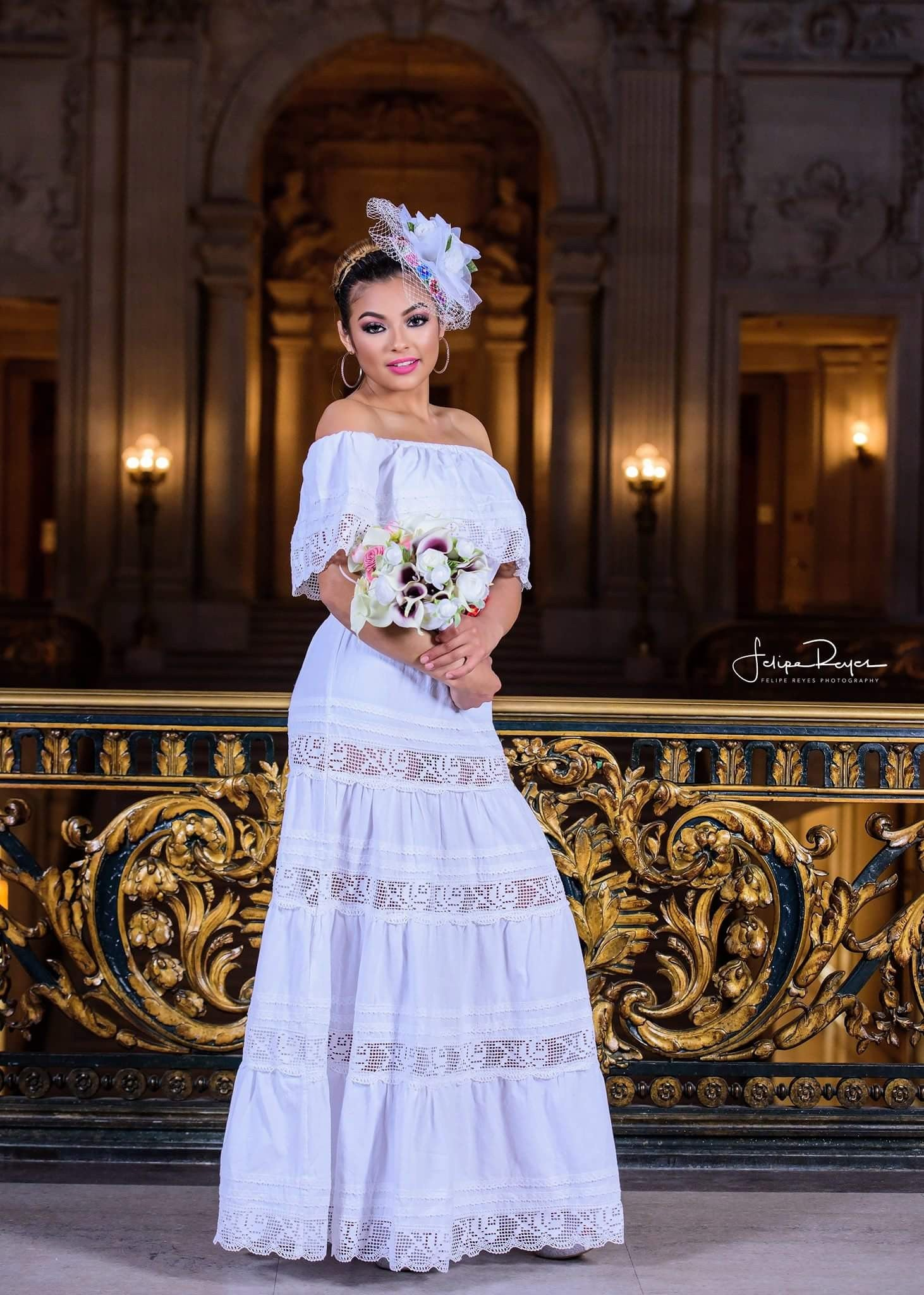 White Off Shoulders Mexican Wedding Dress - Gloria Vidal
