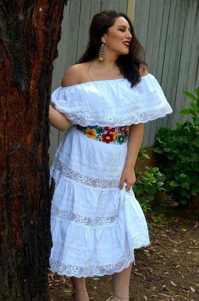 Mexican White Weeding Dress With Lace Crochet Gloria Vidal