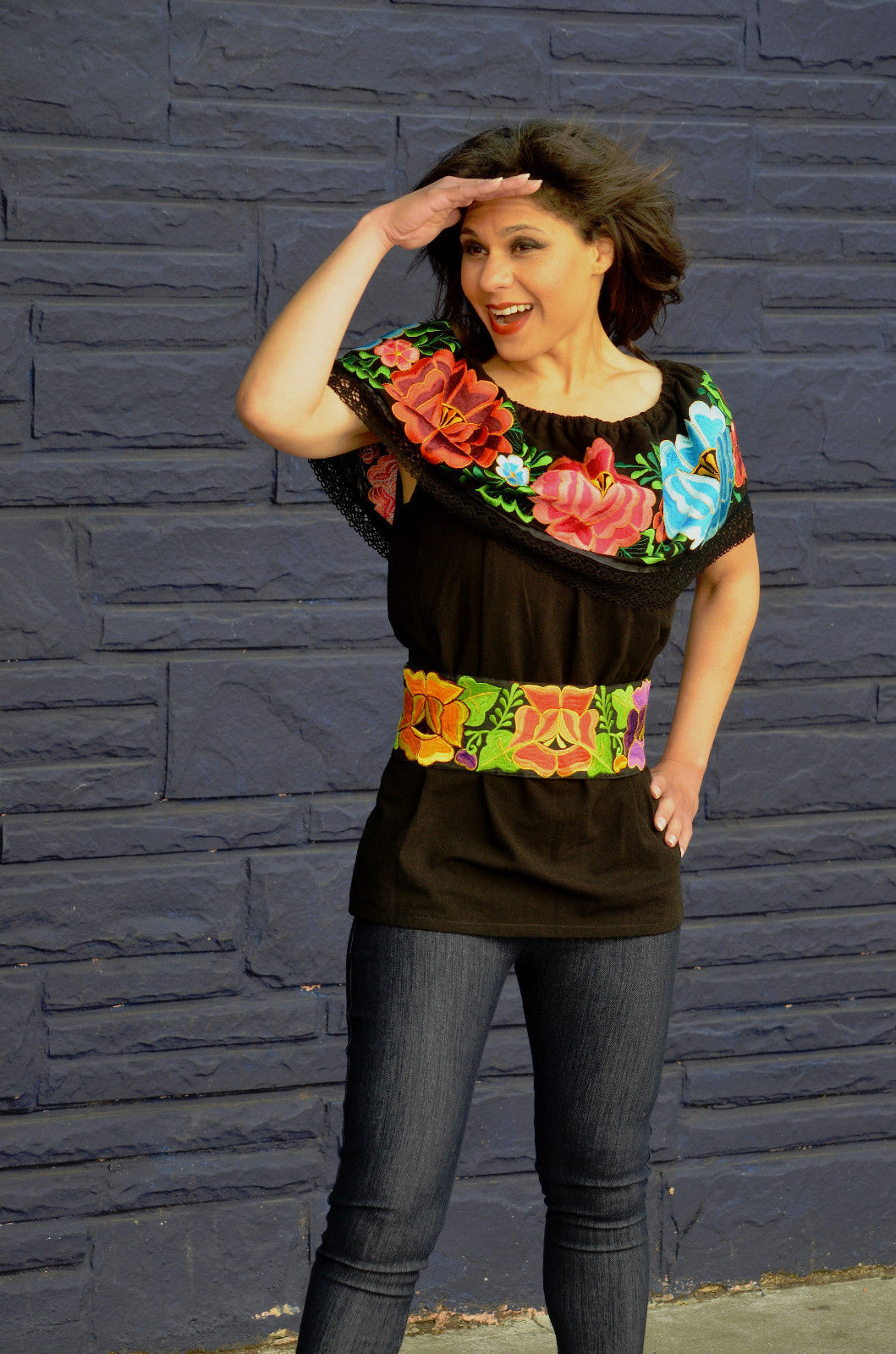 Mexican Off Shoulder Peasant Top Blouse Multicolor Embroidered