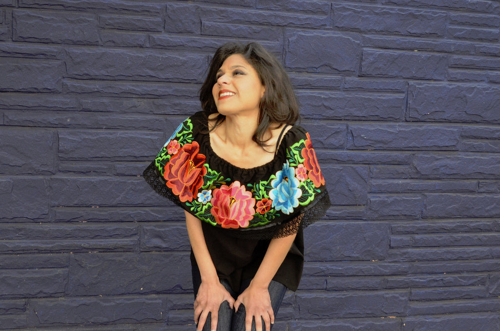 218965733f0 ... Mexican Off Shoulder Peasant Top Blouse Multicolor Embroidered  Gorgeous. ◅  ▻