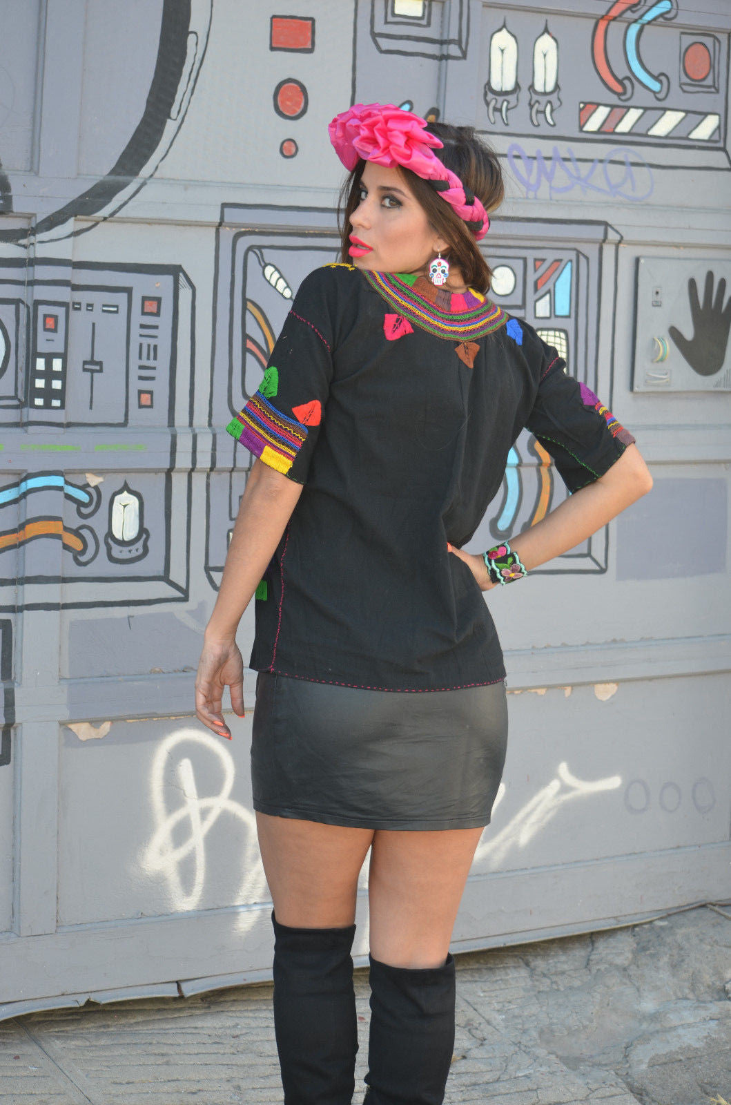 Authentic Mexican Embroidered Blouse Anlis