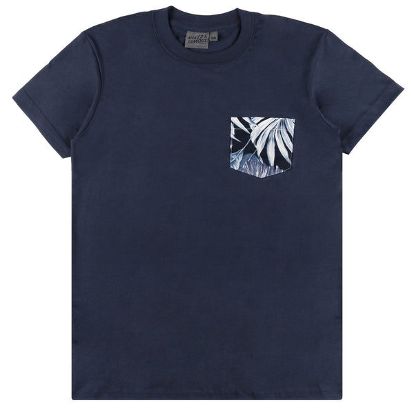 Naked & Famous Denim Navy Tee + Tropical Leaves