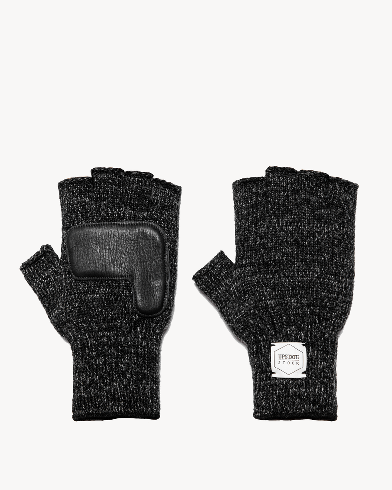 Black Melange Fingerless Glove with Black Deerskin