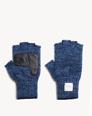 Denim Melange Fingerless Glove with Black Deerskin