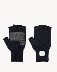 Navy Fingerless Glove with Black Deerskin