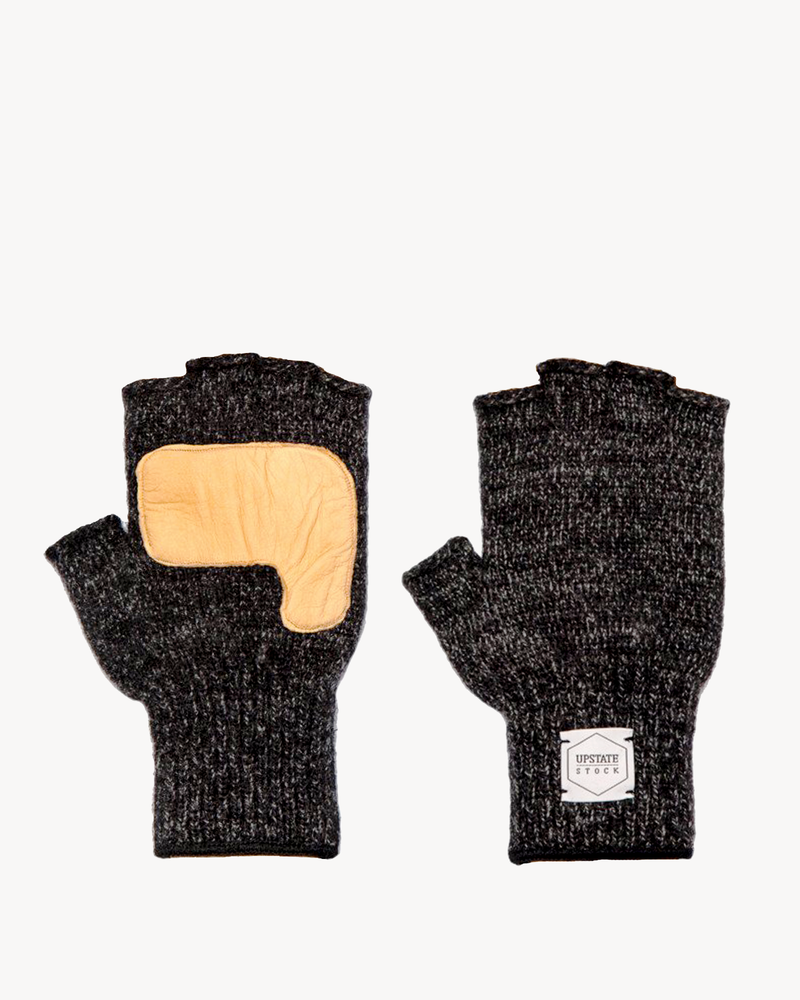Black Melange Fingerless Glove with Natural Deerskin