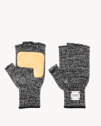 Charcoal Melange Fingerless Glove with Natural Deerskin
