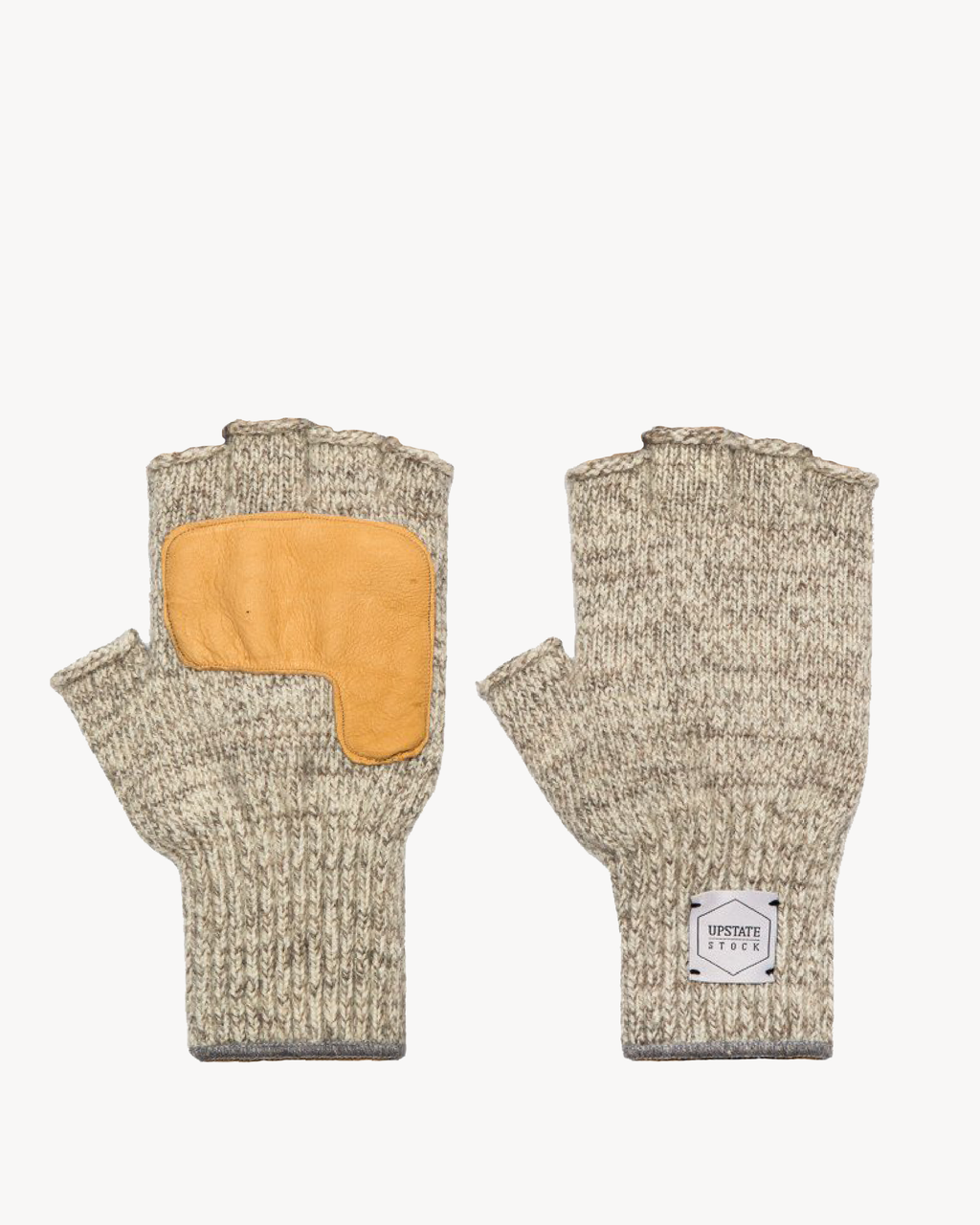 Oatmeal Melange Fingerless Glove with Natural Deerskin Palm