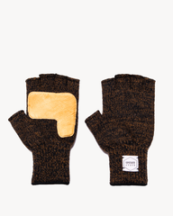 Rust Melange Fingerless Glove with Natural Deerskin