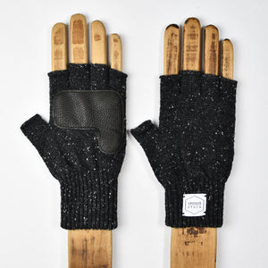 Black Tweed Fingerless Glove with Black Deerskin