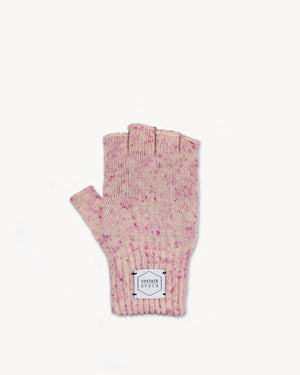 Cherry Blossom Tweed  W/ Black Deer Fingerless Gloves