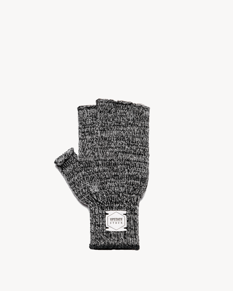 Charcoal Melange Fingerless Ragg Wool Gloves
