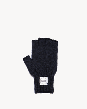 Navy Melange Fingerless Ragg Wool Gloves