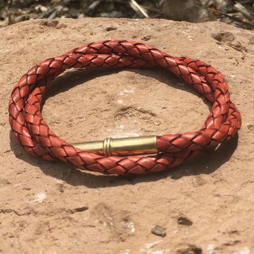 FLINT BRACELET • BRAIDED LEATHER • .22 Brass - RED SADDLE