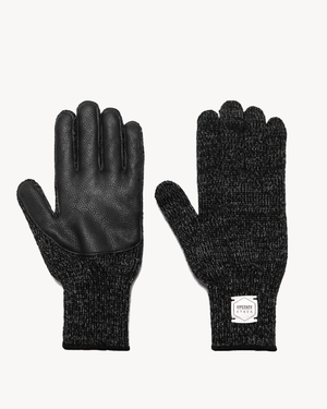Black Melange with Black Deerskin Full Glove