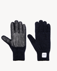 Navy Melange with Black Deerskin Full Glove