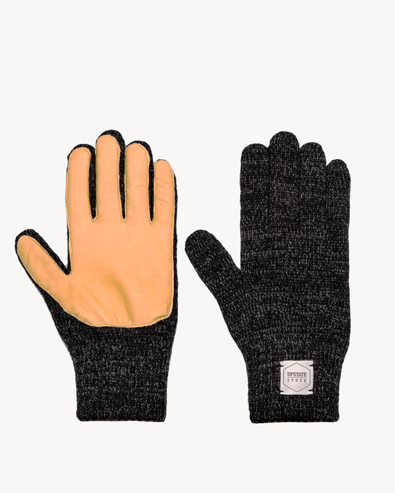 Black Melange with Natural Deerskin Full Glove
